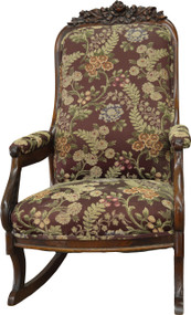 SOLD Victorian Rose Carved Upholstered Rocker