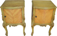 SOLD Pair of Satinwood French Victorian Carved Nightstands