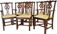 17357 Set of 6 Mahogany Chippendale Chairs