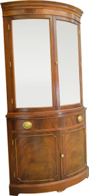 17394 Mahogany Curved Glass Corner China Cabinet