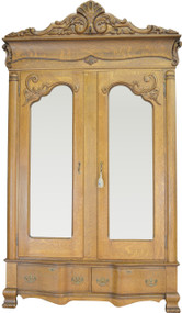 SOLD Outstanding Tiger Sawn Oak Double Door Wardrobe – Heavily Carved