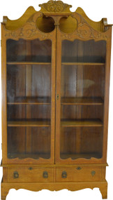 19548 Carved Oak Two Door Drawer Fancy Bookcase