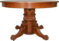 "17111 Tiger Oak 48"" Round Lion Head Dining Table"