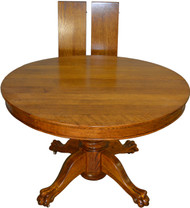 "SOLD Round Oak 45"" Claw Foot Dining Table with 2 Leaves"