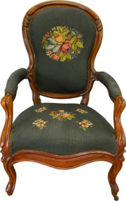 SOLD Victorian Gentlemen's Carved Arm Chair with Needlepoint Seat & Back