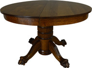 SOLD Round Oak Claw Foot Dining Table 45 Inch