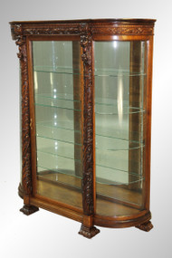 SOLD Antique Monumental Lion-Headed Acanthus Carved Oak China Cabinet REDUCED PRICE!!