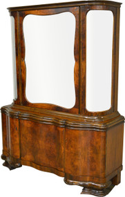 SOLD Burl Walnut Bevel Glass China Cabinet