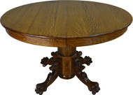 SOLD Round Oak Lion Head and Claw Foot Dining Table with 2 Leaves