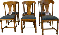 SOLD Set of 6 Empire Oak Dining Chairs
