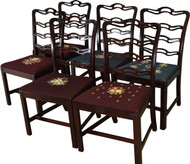 SOLD Set of 6 Mahogany Chippendale Ribbon Back Chairs