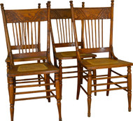 SOLD Set of 4 Antique Oak Pressback Dining Chairs