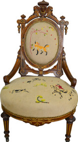 17429 John Jelliff Needlepoint Ladies Chair