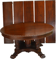 SOLD Round Mahogany Acanthus Carved Dining Banquet Table – 11 Feet Long!!