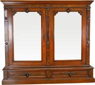 SOLD Victorian Step Back Burl Walnut Bookcase - Civil War