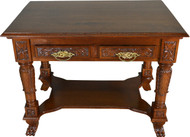SOLD Carved Victorian Walnut Writing Desk Library Table