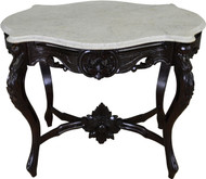 17345 Victorian Marble Top Turtle Top Carved Table