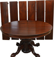 17422 Mahogany Heavily Carved Ball & Claw Banquet Dining Table w/6 Leaves