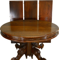 SOLD Victorian Round Walnut Dining Table w/ Carved Skirt Split Base 3 Leaves