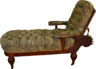 SOLD Oak Morris Chaise Reclining Lounge Rare