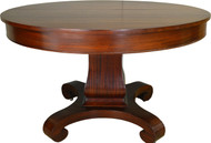 "SOLD Round Mahogany Empire Dining Table 48"" Banquet Length"