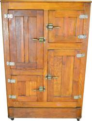 SOLD Four Door Oak Ice Box