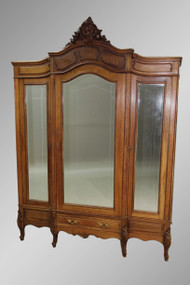 SOLD Antique French Oak Triple-door Wardrobe