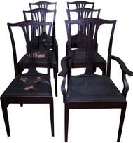 SOLD Set of 6 Mahogany Dining Chairs