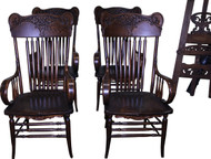 18265 Set of 4 Victorian Carved Arm Chairs - Rare