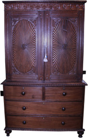 SOLD Rosewood Period Linen Chest Cupboard Heavily Carved