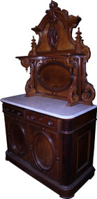 SOLD Marble Top Victorian Carved Huntsboard
