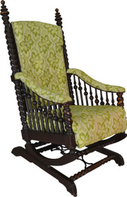 SOLD Oak Barley Twist Oversize Platform Rocker by Hunzinger
