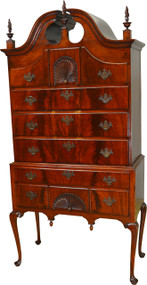 SOLD Period Flame Mahogany Chippendale High Boy Chest