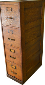 SOLD Four Drawer Oak File Cabinet