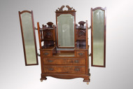 SOLD Antique Most Unusual Burl Walnut Dressing Triple Mirror Chest