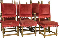 SOLD Set of 6 Oak Oversize Dining Chairs with carved Figures