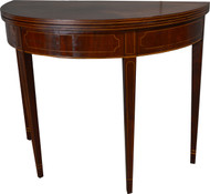 17477 Mahogany Demi Lune Inlaid Game Table