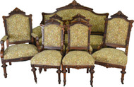 19553 7pc Burl Walnut Victorian Carved Parlor Set