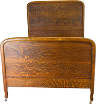 SOLD Tiger Sawn Oak Full Size Antique Bed