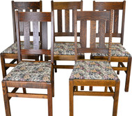 SOLD Set of 5 Oak Mission Dining Chairs