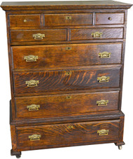 SOLD Tiger Sawn Oak Victorian Butler's Desk Dresser -Rare