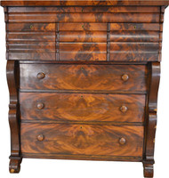 17487 Empire Flame Mahogany Tall Chest – Period Pre-Civil War