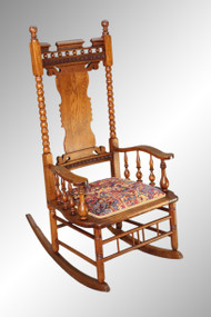 SOLD Antique Oak Press-back Rocker - Very Fancy
