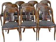 SOLD Set of 10 Period Flame Mahogany Empire Chairs – Rare