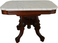 SOLD Victorian Burl Walnut Marble Top Coffee Table