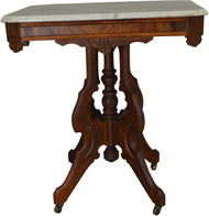 SOLD Victorian Marble Top Burl Walnut Parlor Stand