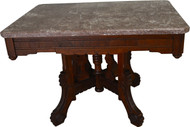 17497 Victorian Marble Top Coffee Table with Burl Walnut