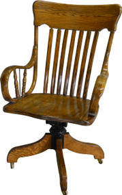 SOLD Victorian Oak Rolled Arm Bankers Lawyers Office Chair