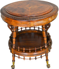 SOLD Burl Walnut Heavily Carved Center Table