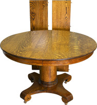 SOLD Antique Round Oak Empire Dining Table